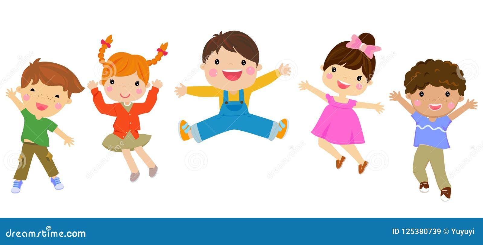 Grupa dzieci skakać
