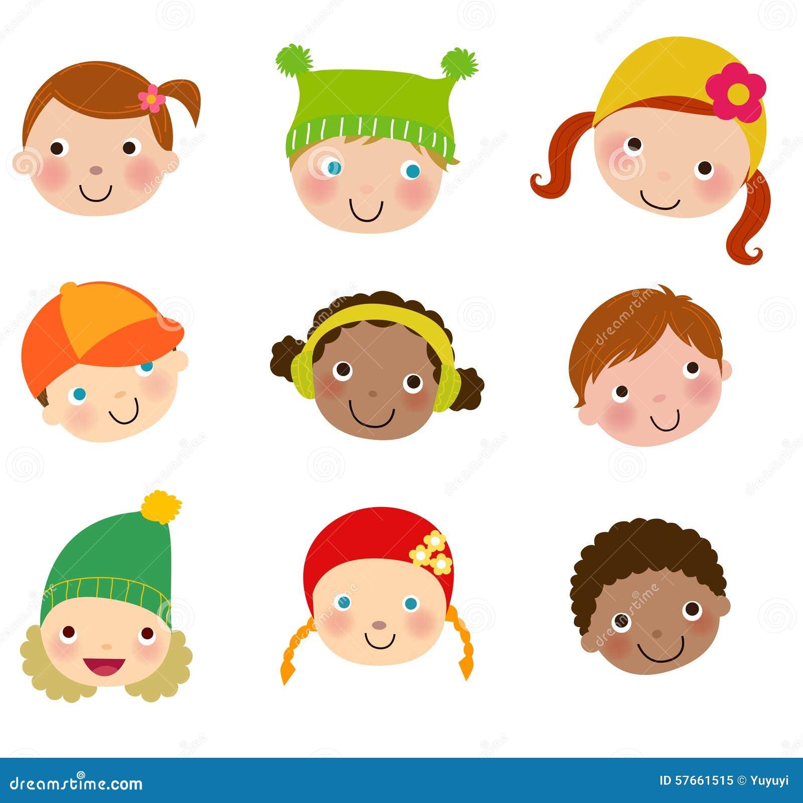 Grupa dzieciak twarzy set