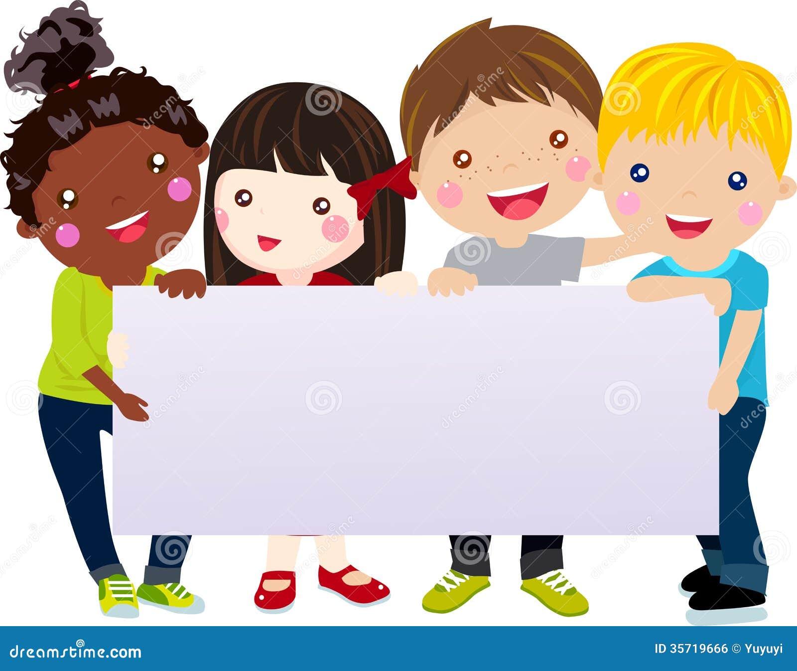 Grupa dzieciaki i sztandar
