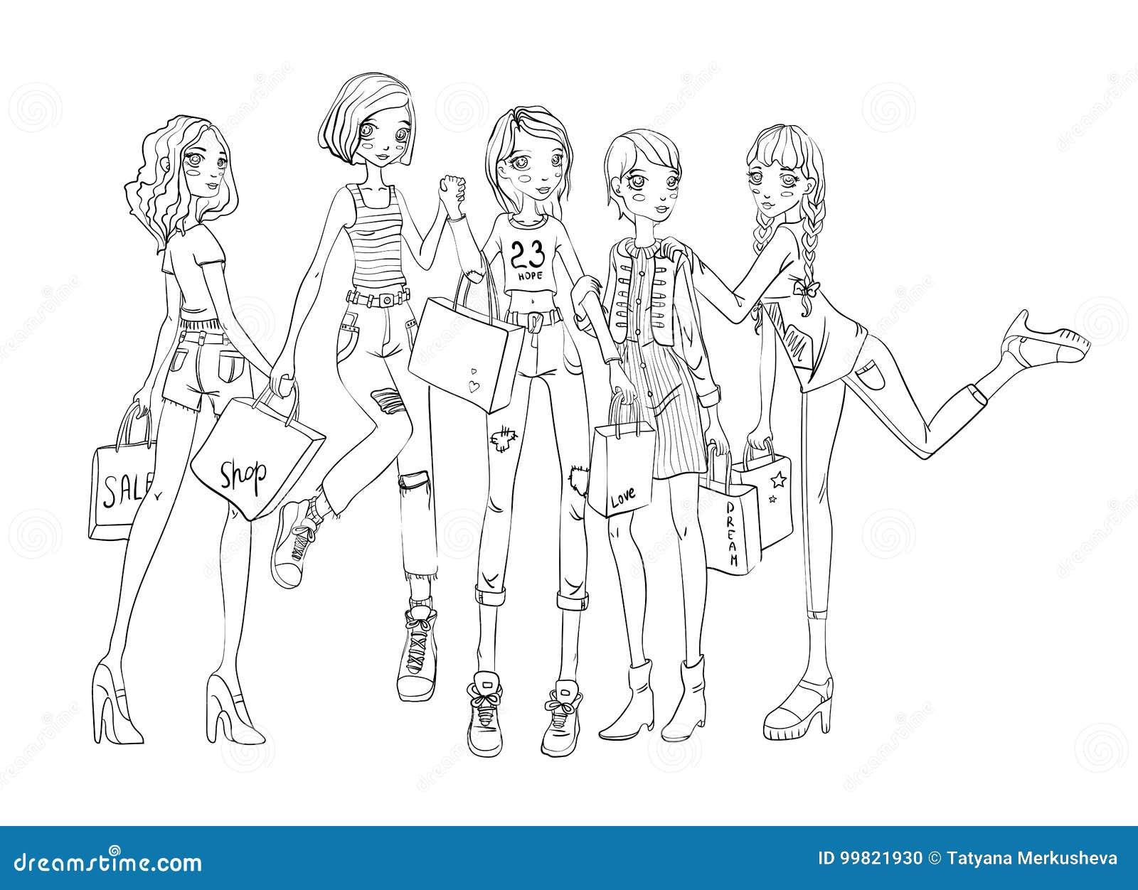 Grupa dziewczyny z torba na zakupy w rękach Zarysowywa wektorową ilustrację, odizolowywającą na białym tle