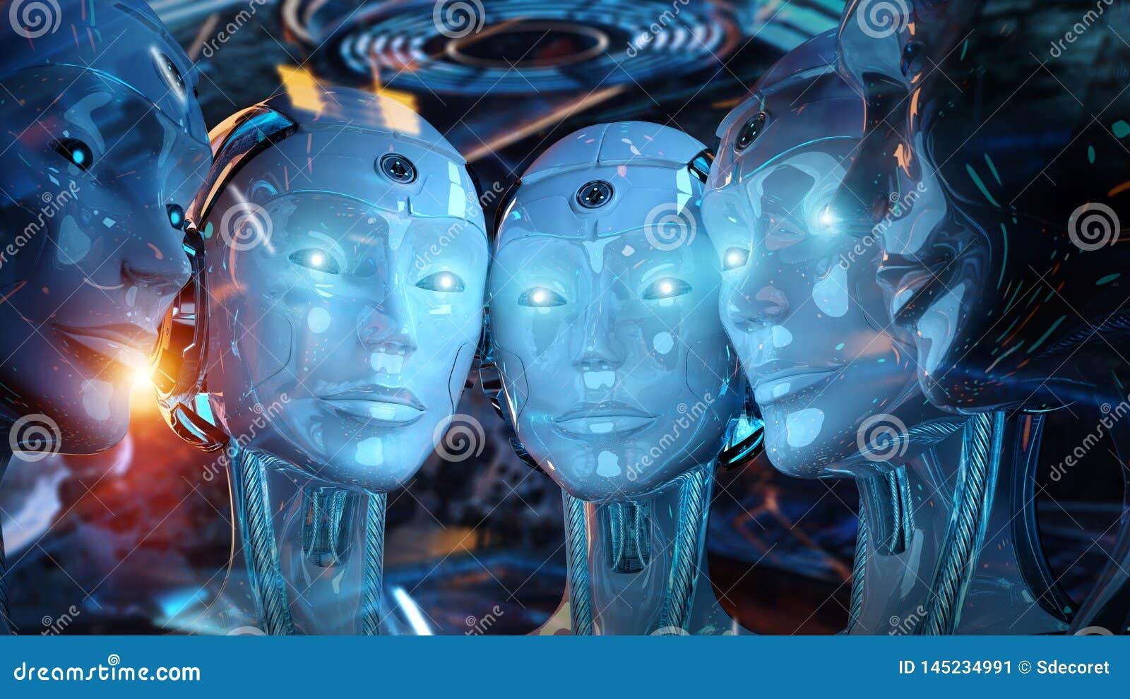 Grupa ?e?scy roboty blisko do each inny cyborga wojska poj?cia 3d rendering