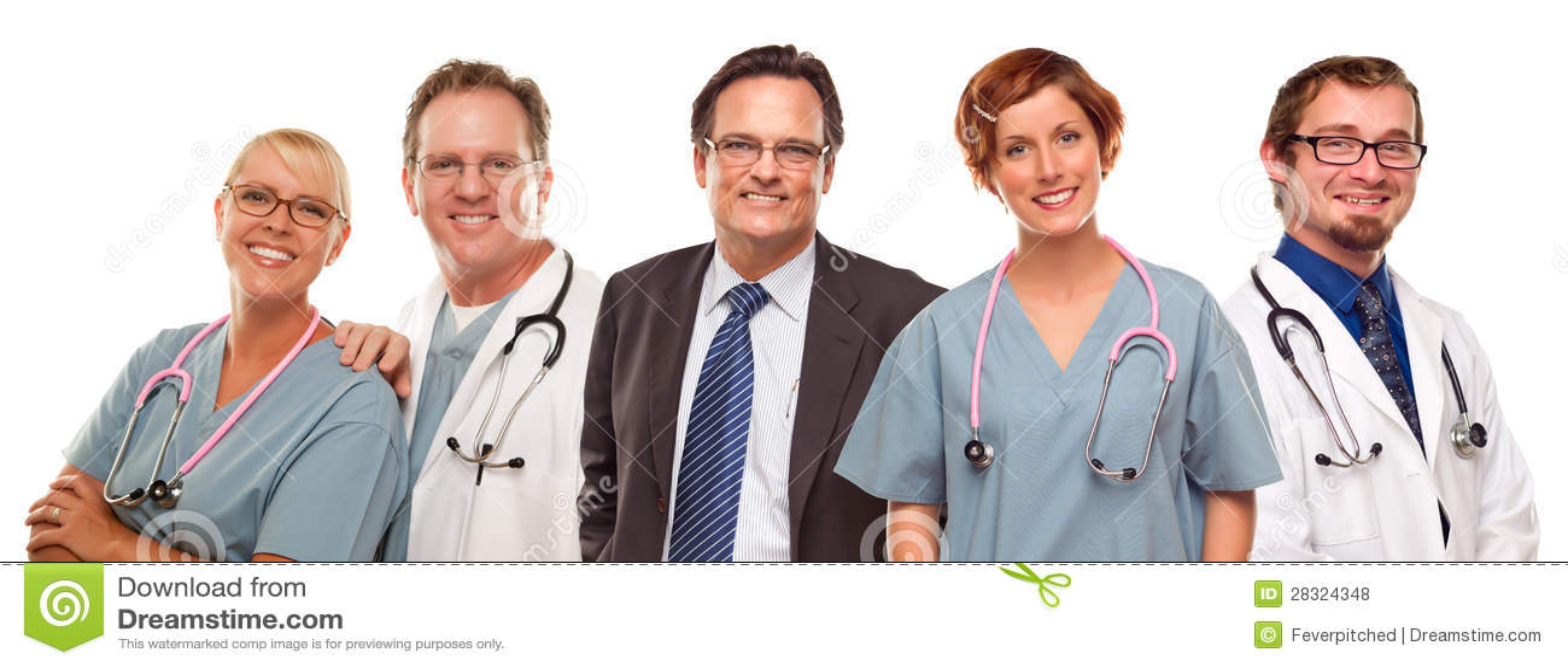 Grupa lekarki, pielęgniarki lub biznesmen na bielu