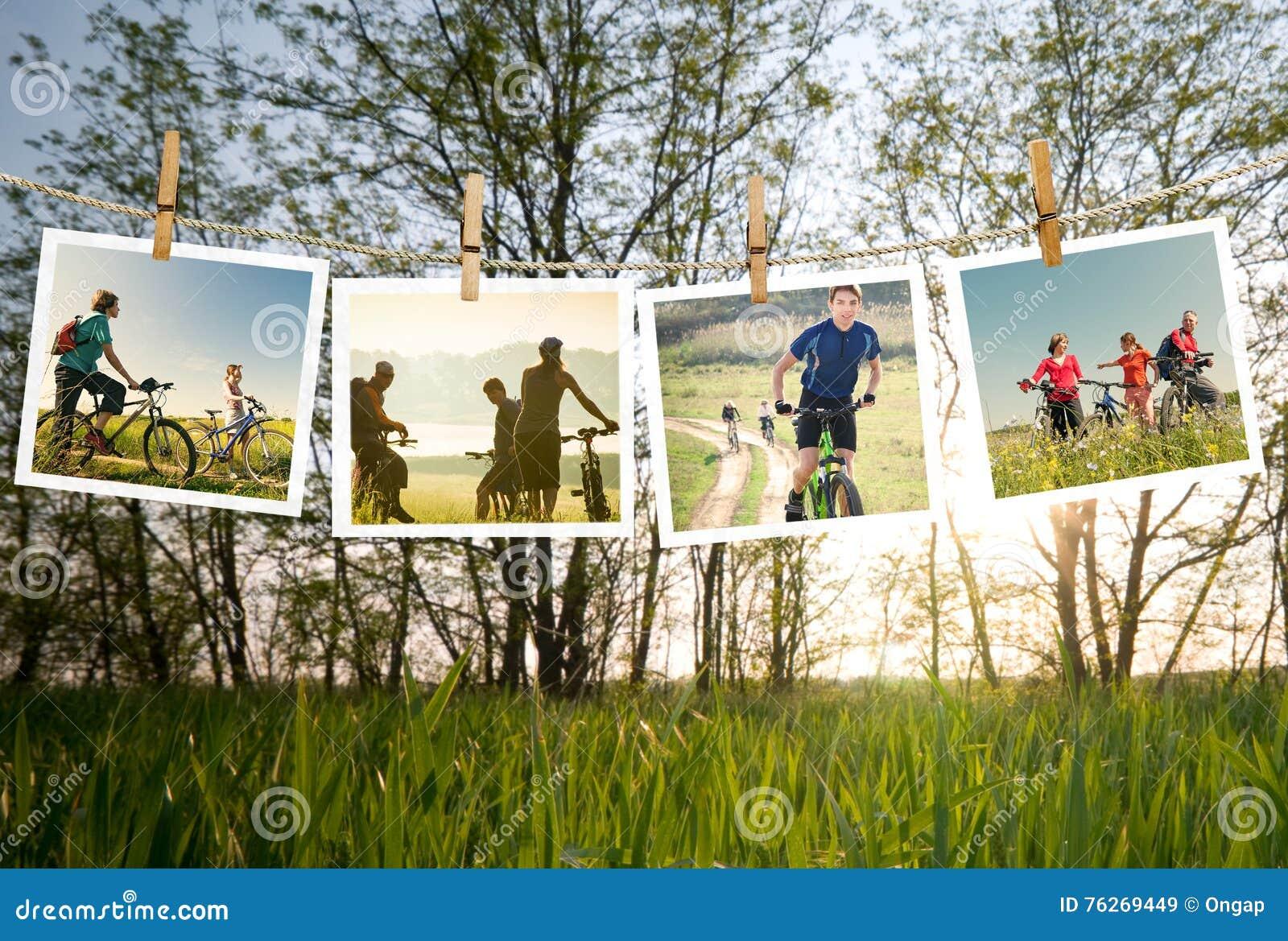 Grupa ludzi jeździć na rowerze outdoors