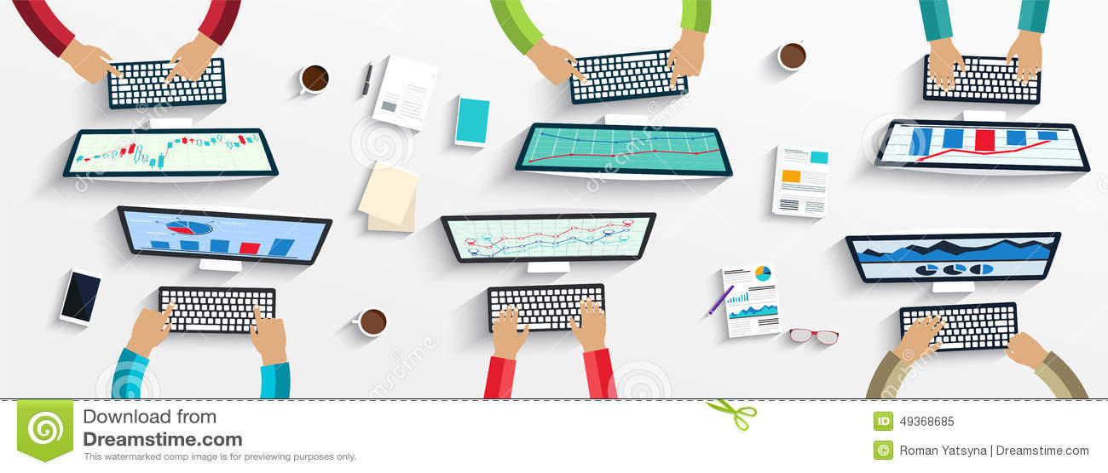 Grupa ludzie biznesu pracuje na laptopach używać cyfrowych przyrząda, komputery