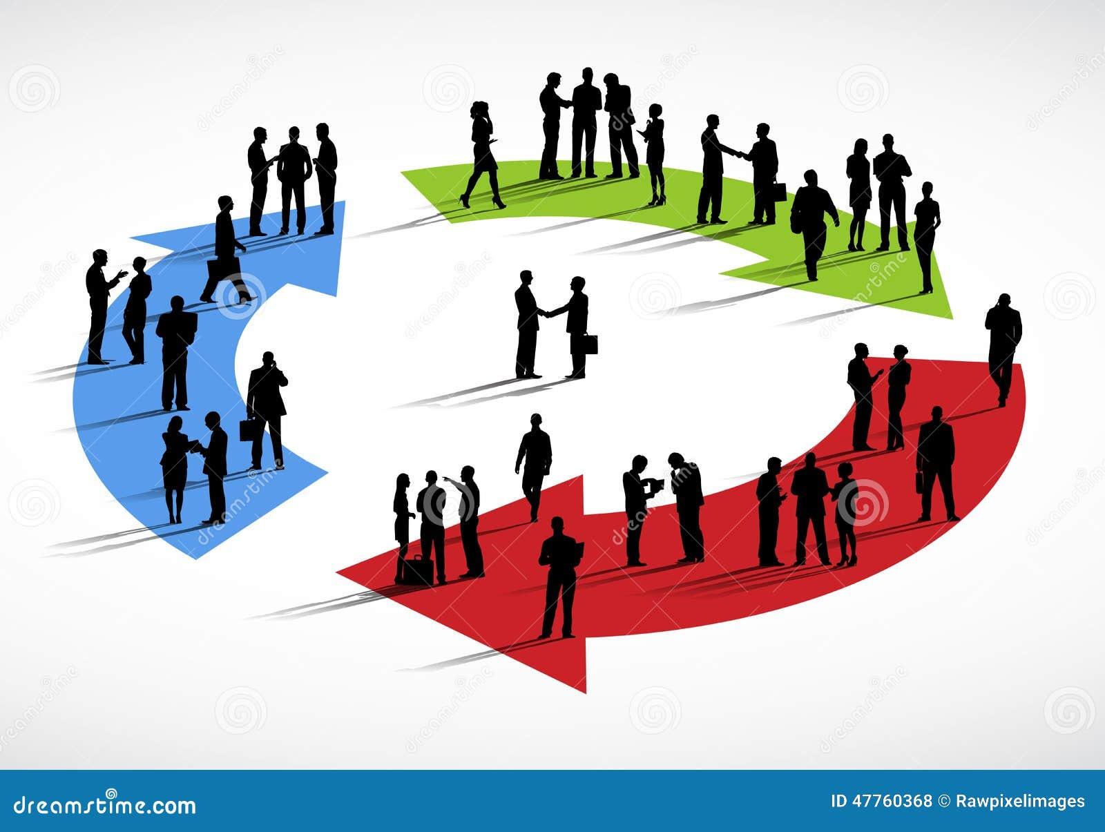 Grupa ludzie biznesu Stoi dyskusja cyklu pojęcie