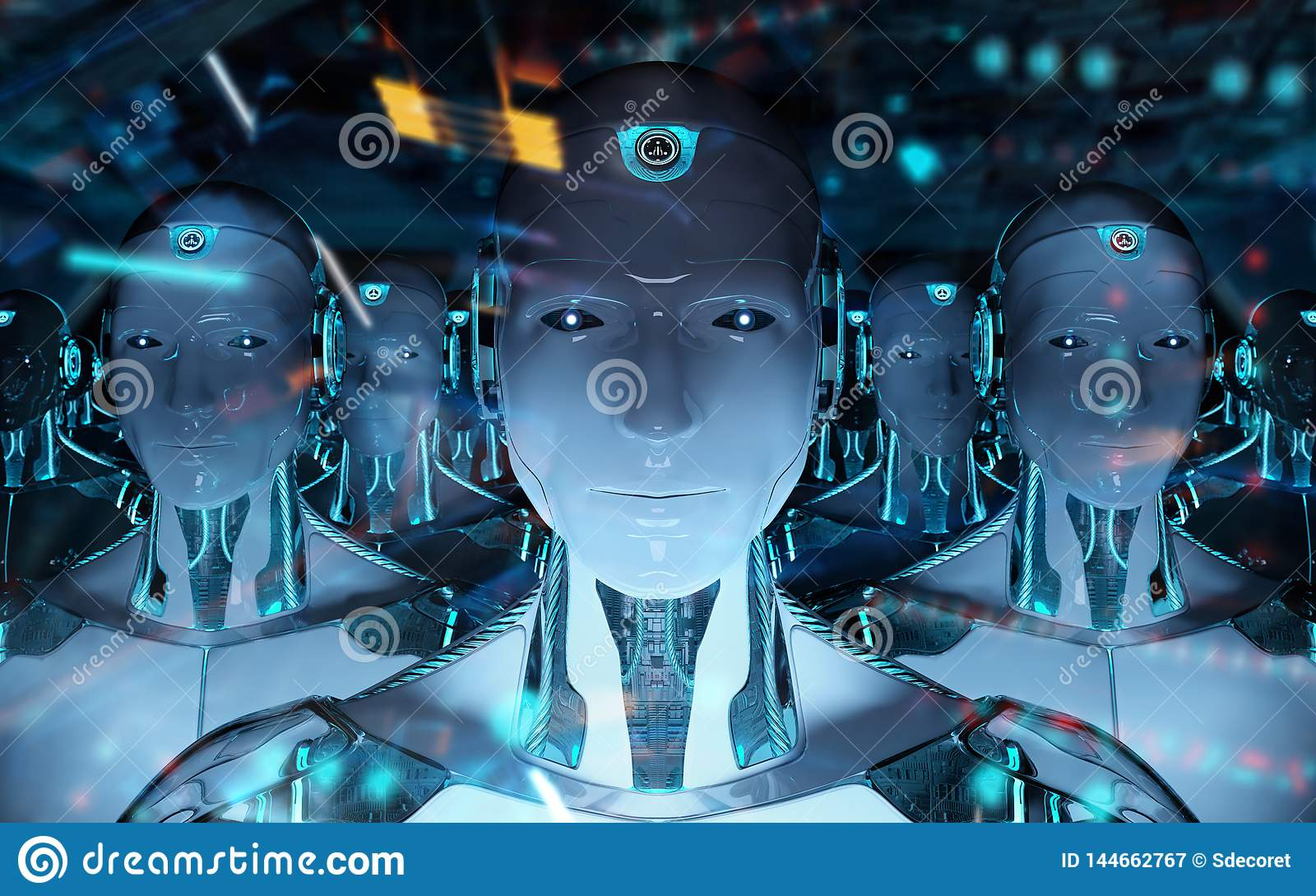 Grupa męscy roboty po lidera cyborga wojska 3d rendering