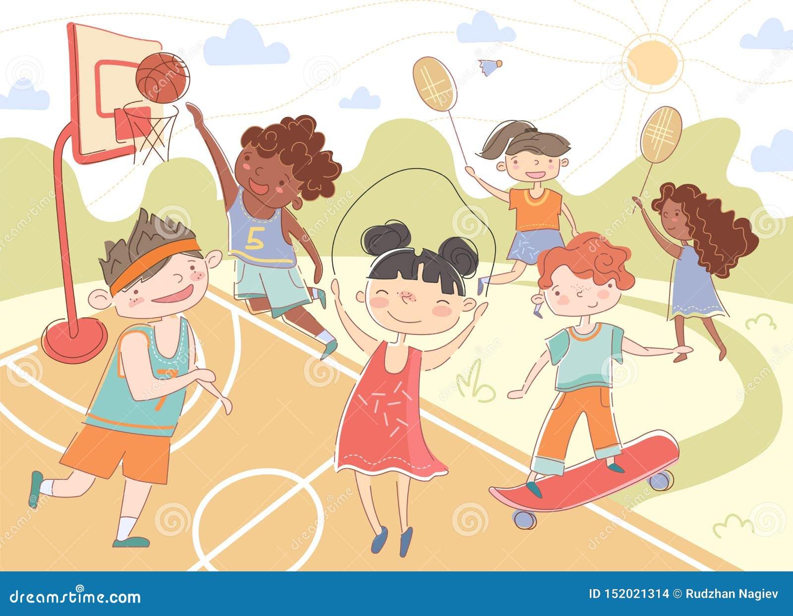 Grupa młode dzieci bawić się lato sporty