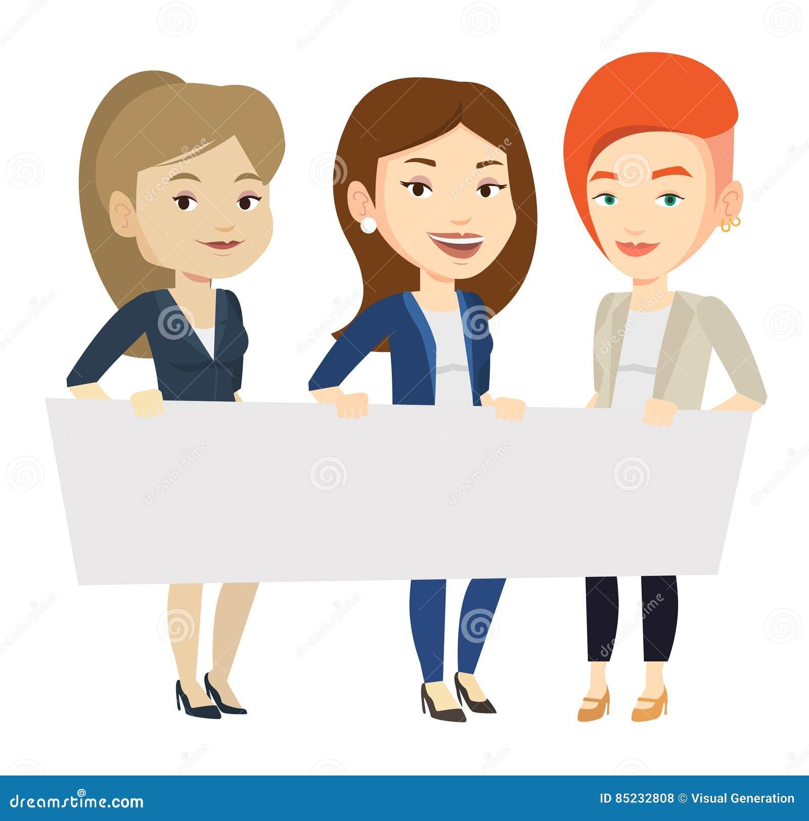 Grupa młode kobiety trzyma białą puste miejsce deskę