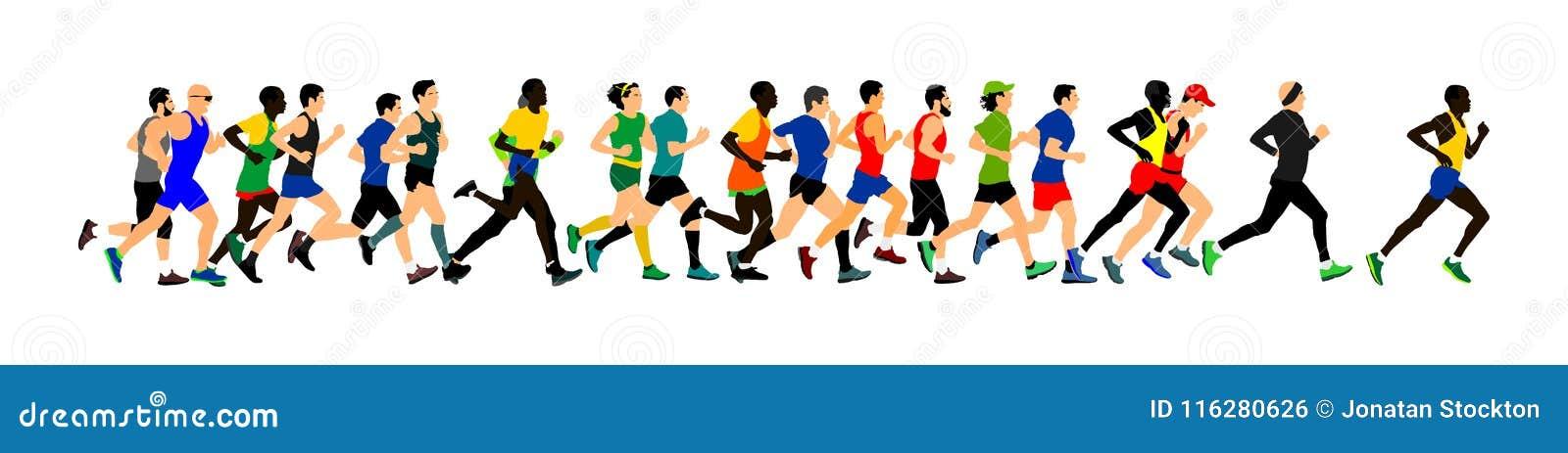 Grupa maratonów setkarzów biegać Maratońscy ludzie wektorowi