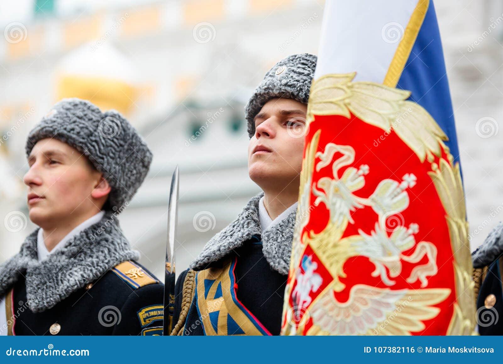 Grupa okaziciela koloru strażnik Prezydencki pułk usługa Moskwa Kremlin's Commandant