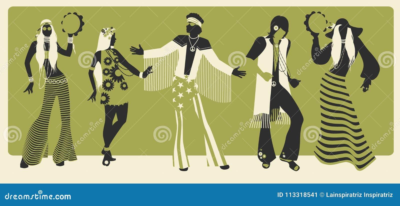 Grupa pięć jest ubranym hipisów ubrań 70s taniec i 60 s