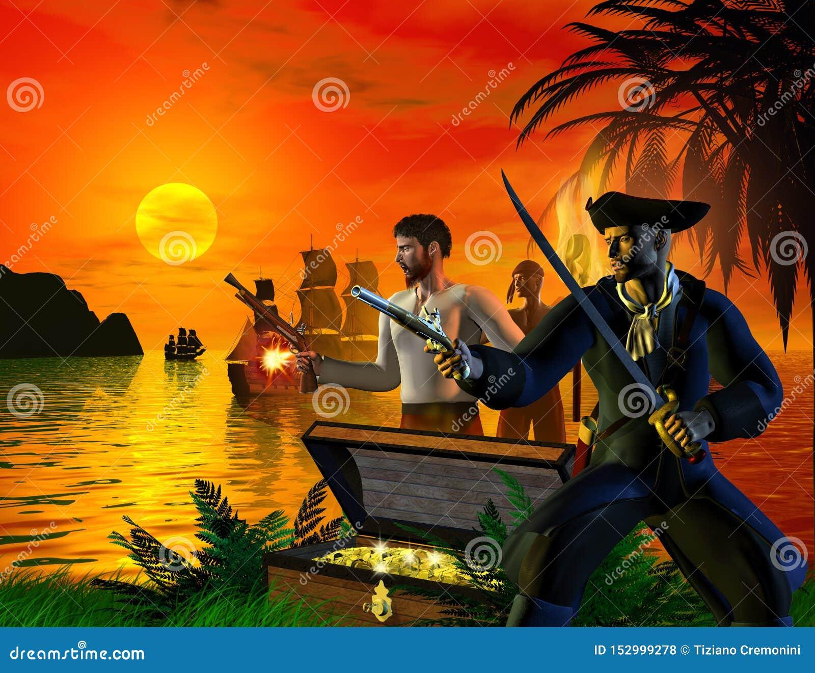 Grupa piraci przyjeżdża na wyspie, szuka dla skarbu, 3d ilustracja