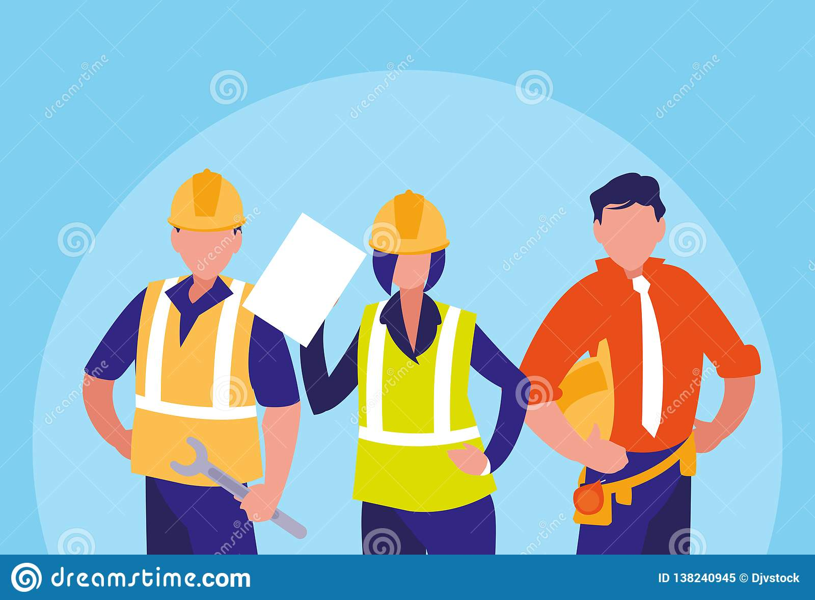 Grupa pracowników industrials avatar charakter