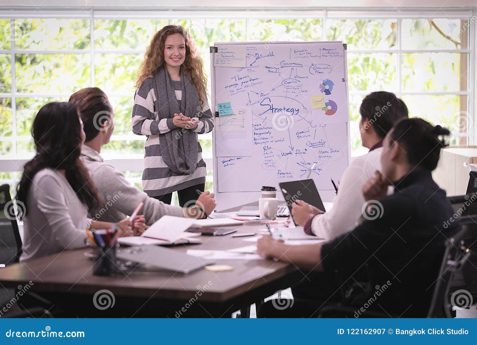 Grupa różnorodność biznesmeni pracuje wpólnie brainstorming wewnątrz