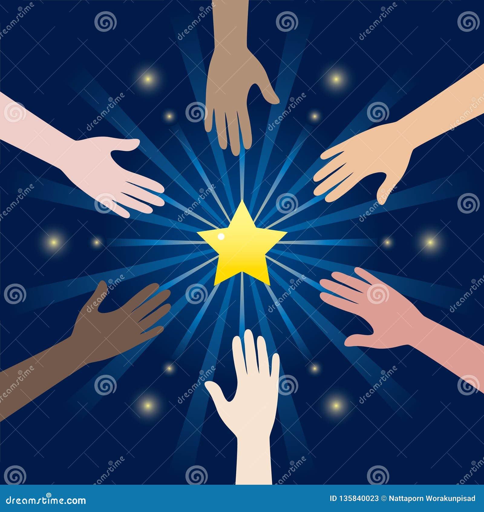Grupa różnorodności ręki dojechanie Dla gwiazd