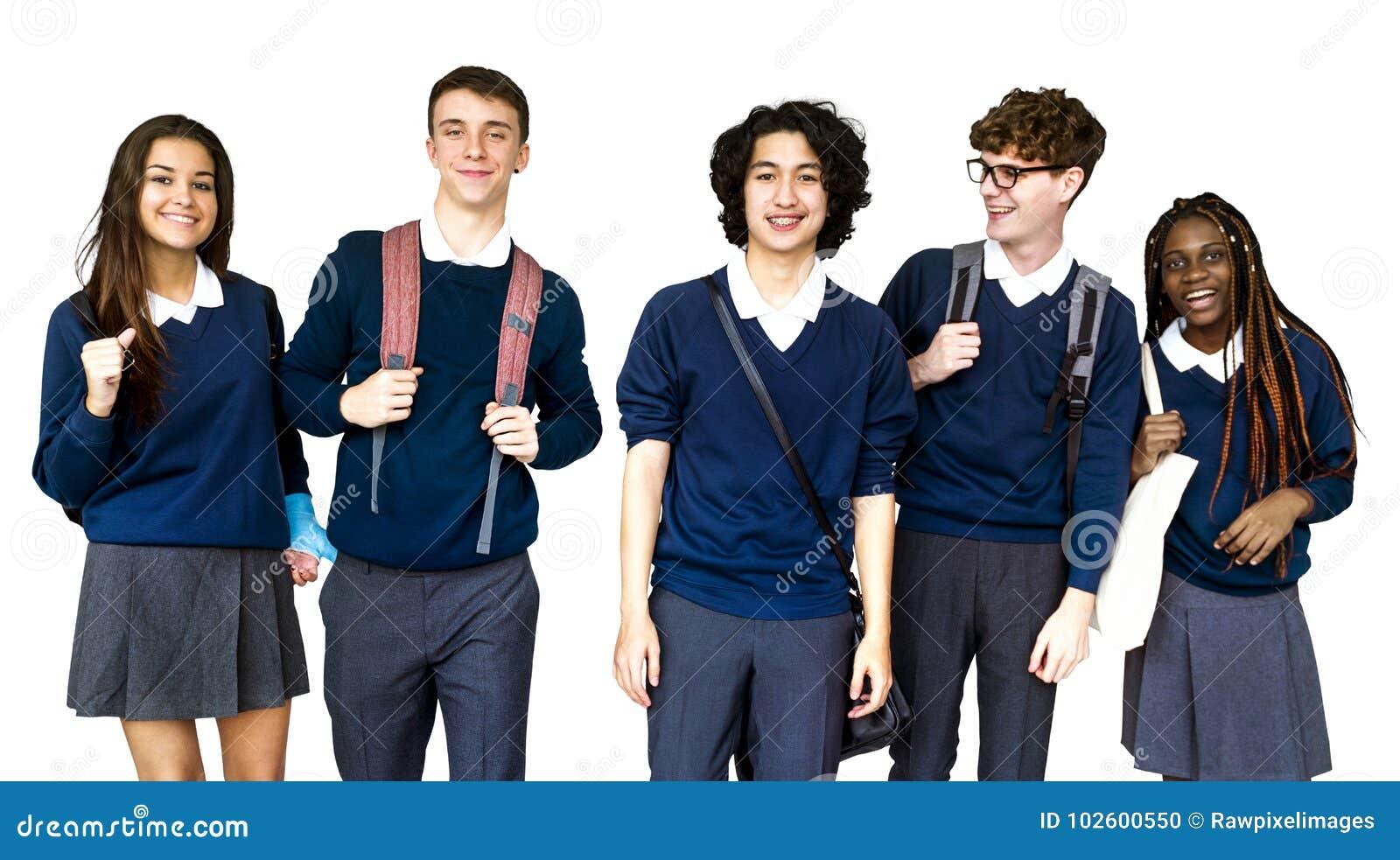 Grupa Różnorodny szkoła średnia uczni studia portret