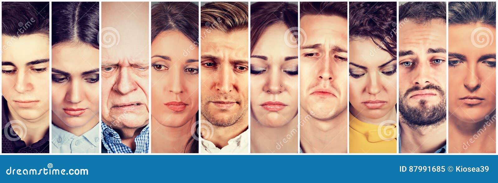 Grupa smutni ludzie mężczyzna i kobiety