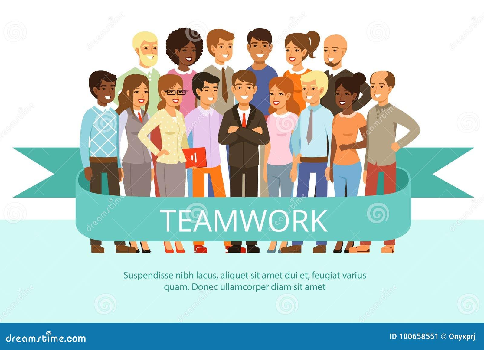 Grupa społeczna na pracie Biurowi ludzie w przypadkowych ubraniach Duża korporacyjna rodzina Wektorowi charaktery w kreskówka sty