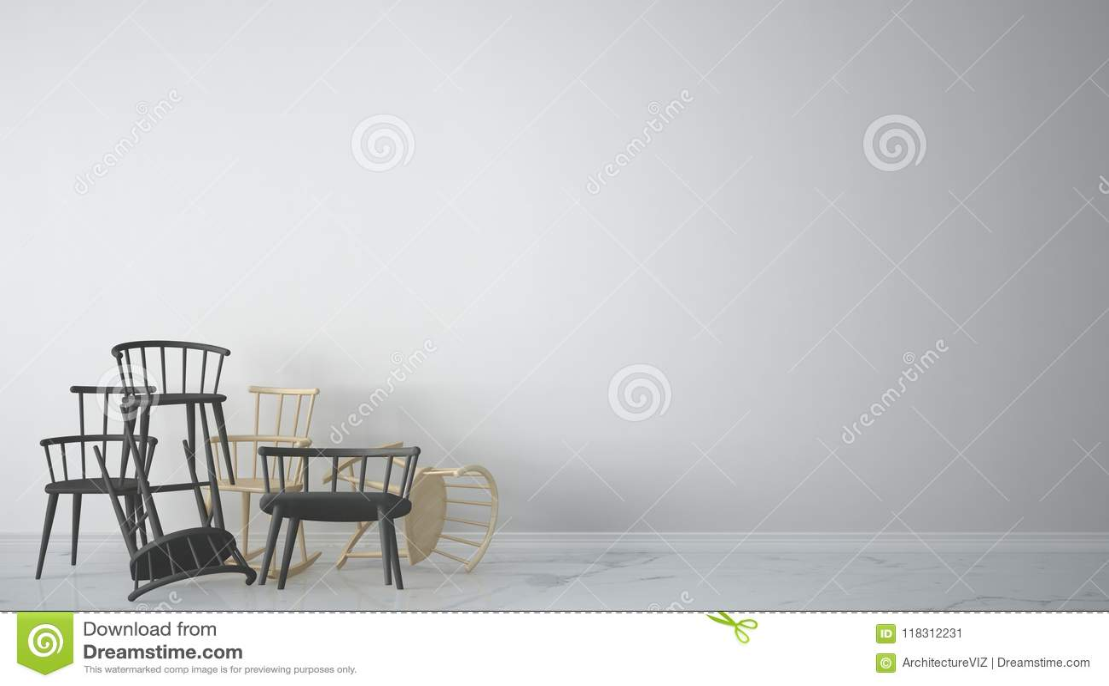 Grupa szary nowożytny scandinavian klasyk i skaliści krzesła brogujący up w rówieśnika pustym wnętrzu z marmurową podłoga, archit