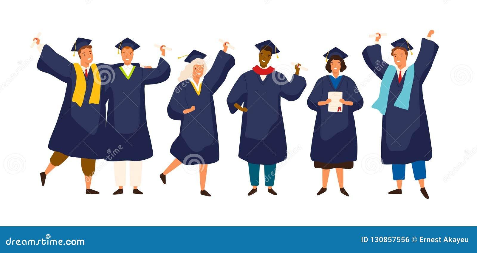 Grupa szczęśliwi kończący studia ucznie jest ubranym naukowa ubiera, toga, kontusz lub skalowanie nakrętka i trzymać dyplom Chłop