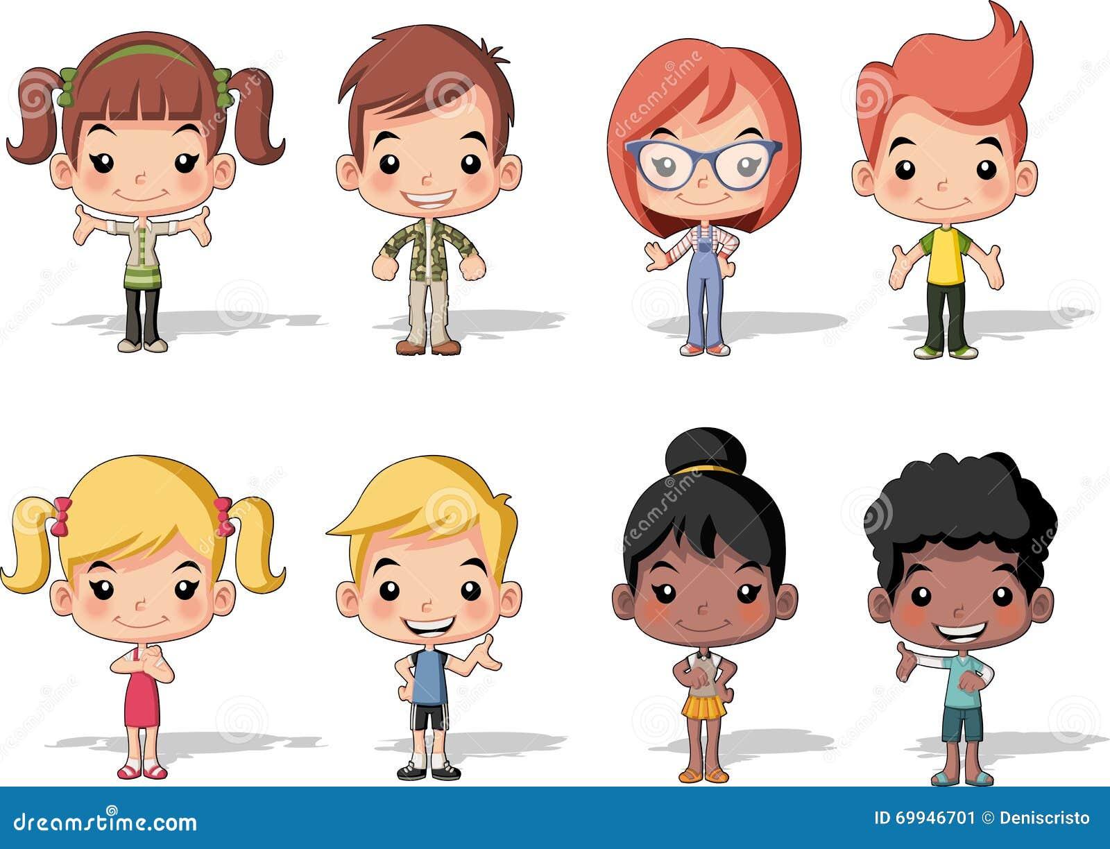 Grupa szczęśliwi kreskówek dzieci