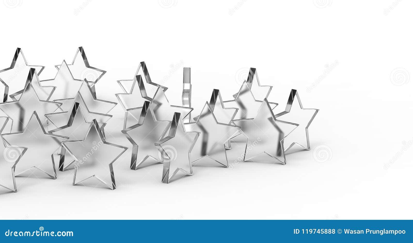 Grupa szkło gwiazdy odizolowywać na białym tle świadczenia 3 d