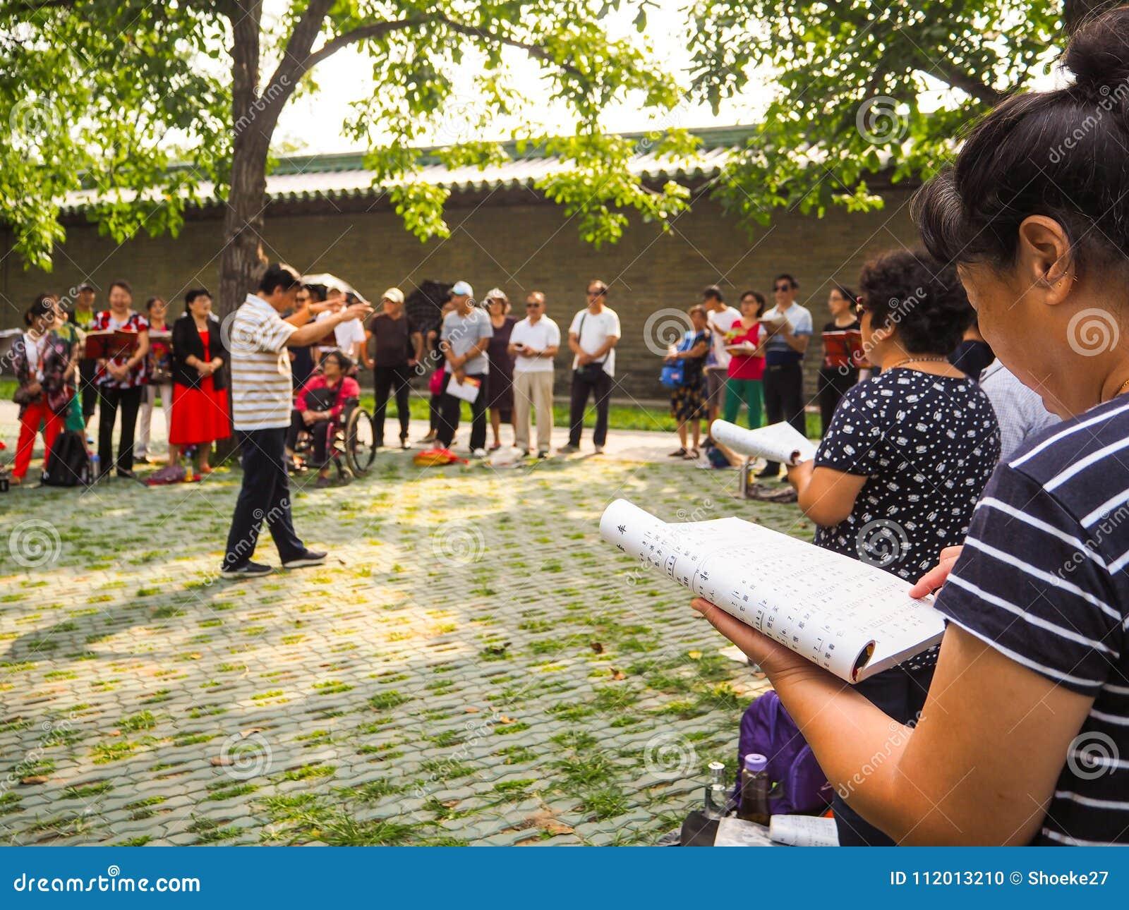 Grupa w średnim wieku i przechodzić na emeryturę ludzie śpiewa w parku
