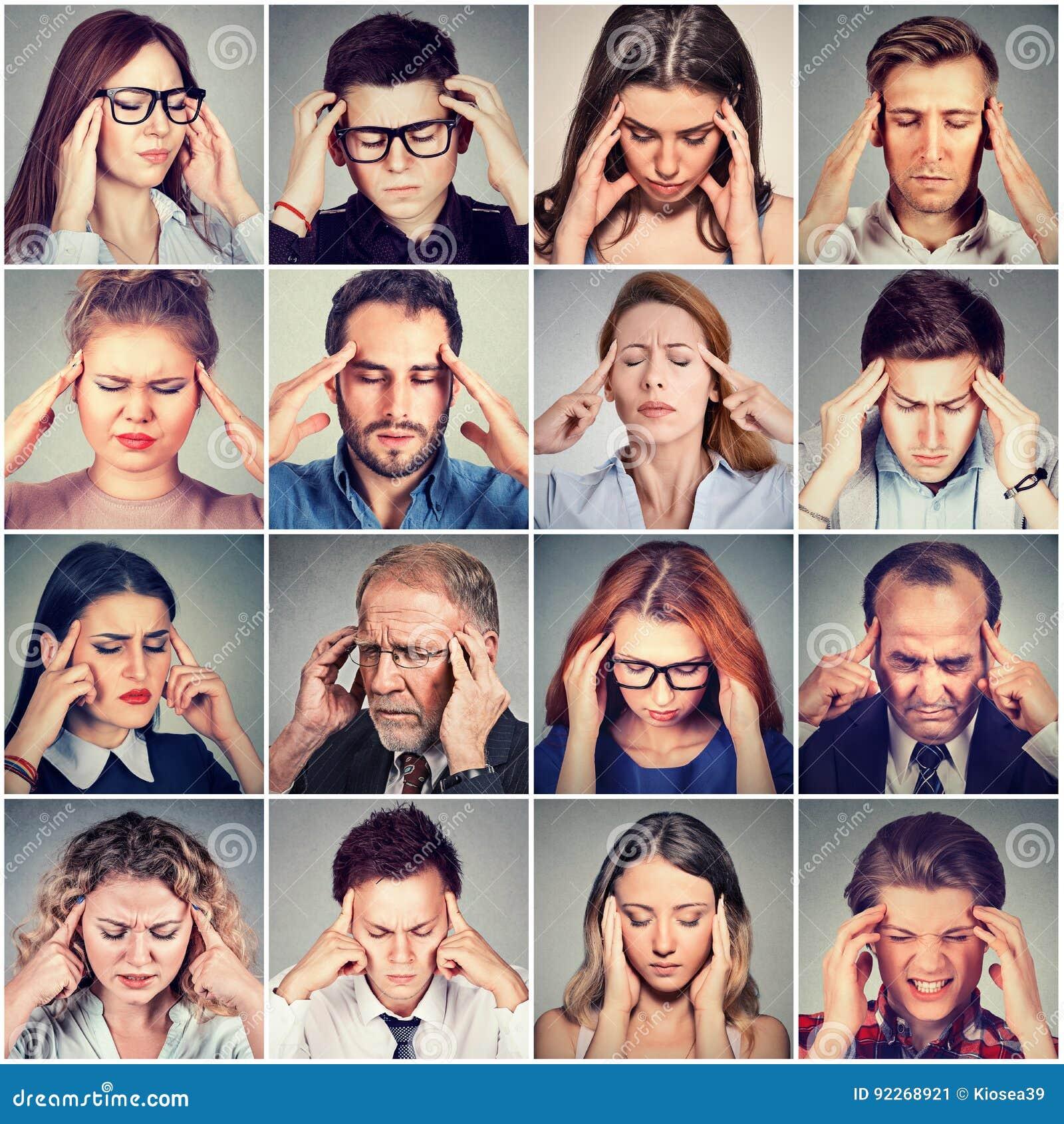 Grupa zaakcentowani smutni ludzie mężczyzna i kobiety ma migrenę