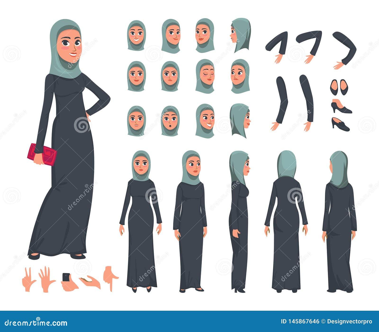 Grupo árabe do construtor do caráter das mulheres no estilo liso Menina muçulmana DIY ajustada com expressões faciais diferentes