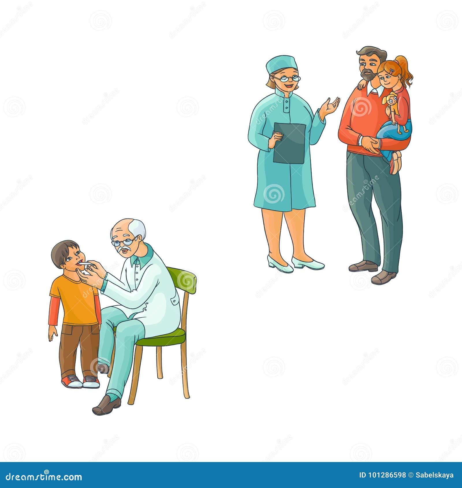 Grupo adolescente da cena das crianças do doutor fêmea liso do vetor