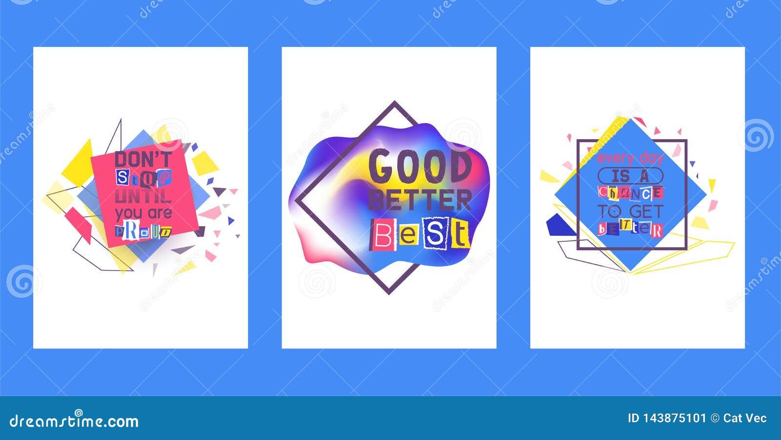Grupo alfabético da colagem de ilustração do vetor dos cartões Palavras cortadas por tesouras do papel colorido Não pare até