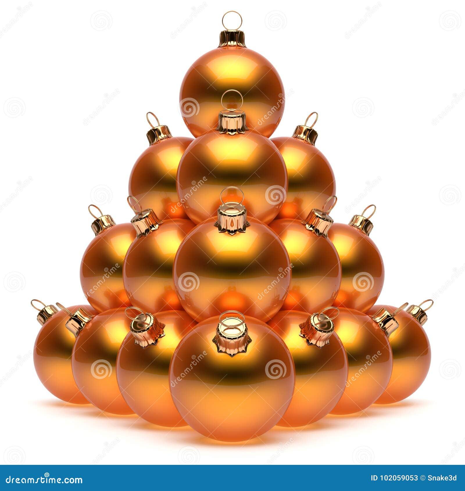 ab07996fa5b Las chucherías anaranjadas del ` s Eve del Año Nuevo de la pirámide de las  bolas de la Navidad agrupan el ornamento brillante de las esferas de la ...