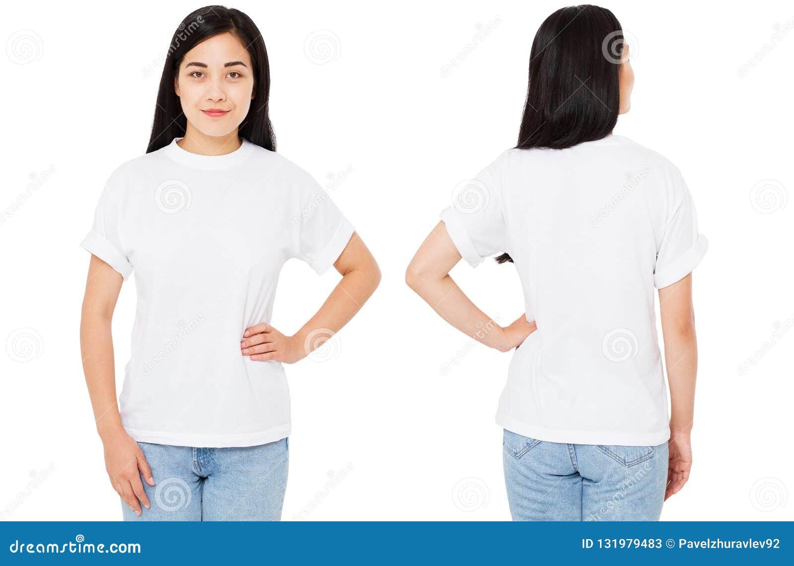 Grupo, asiático da colagem, mulher coreana no t-shirt isolado no fundo branco, trocista acima para o projeto Copie o espaço molde