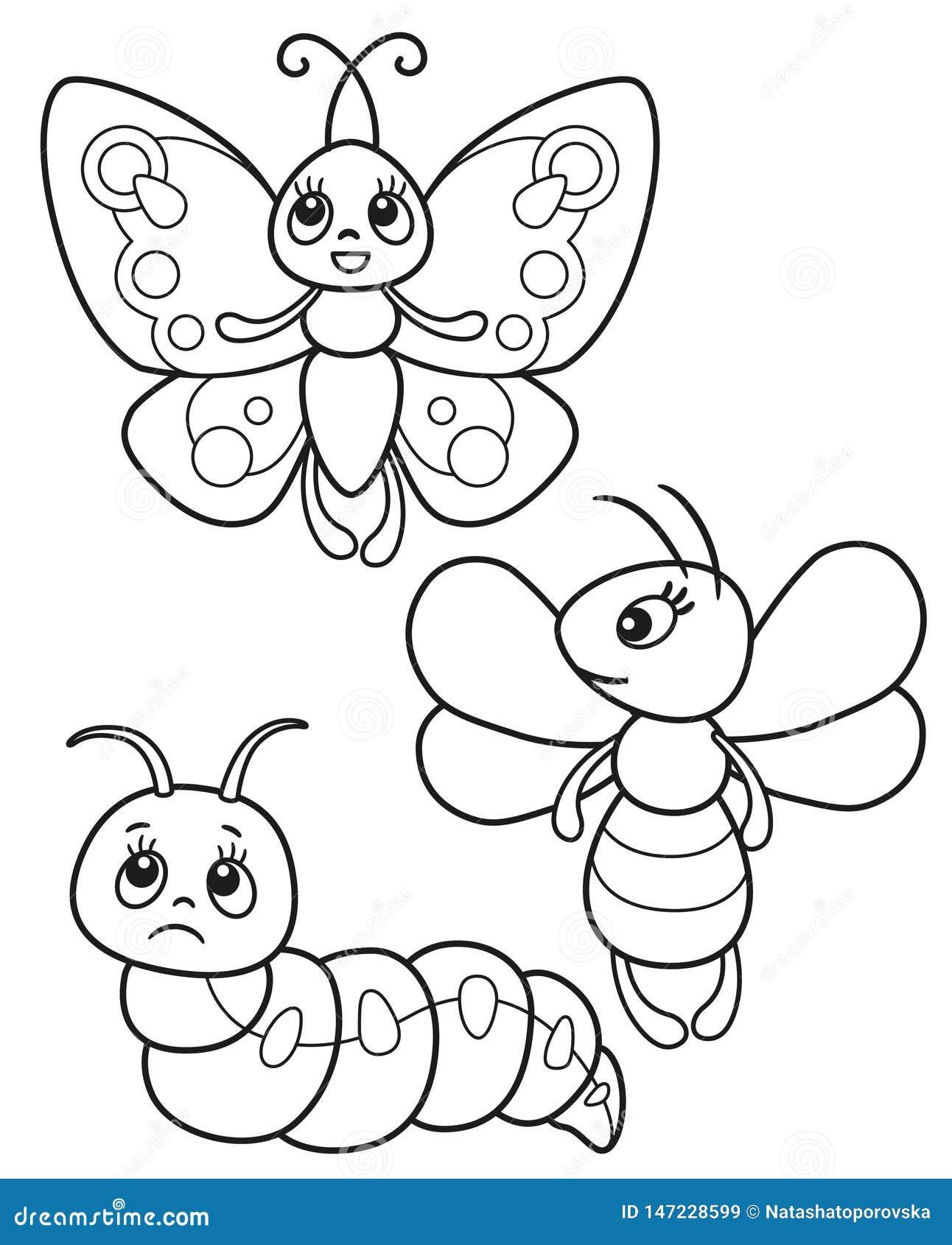 Grupo bonito de insetos engraçados, de ilustrações preto e branco borboleta do vetor, de abelha e de lagarta para a coloração ou