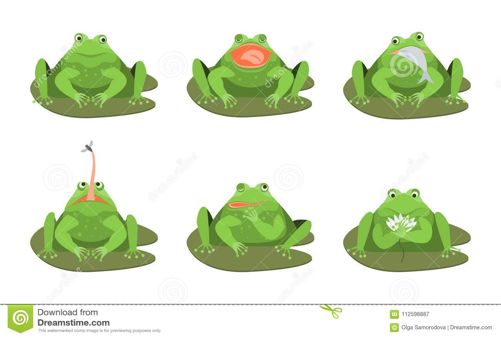Grupo bonito do ícone dos caráteres das rãs verdes dos desenhos animados Vetor