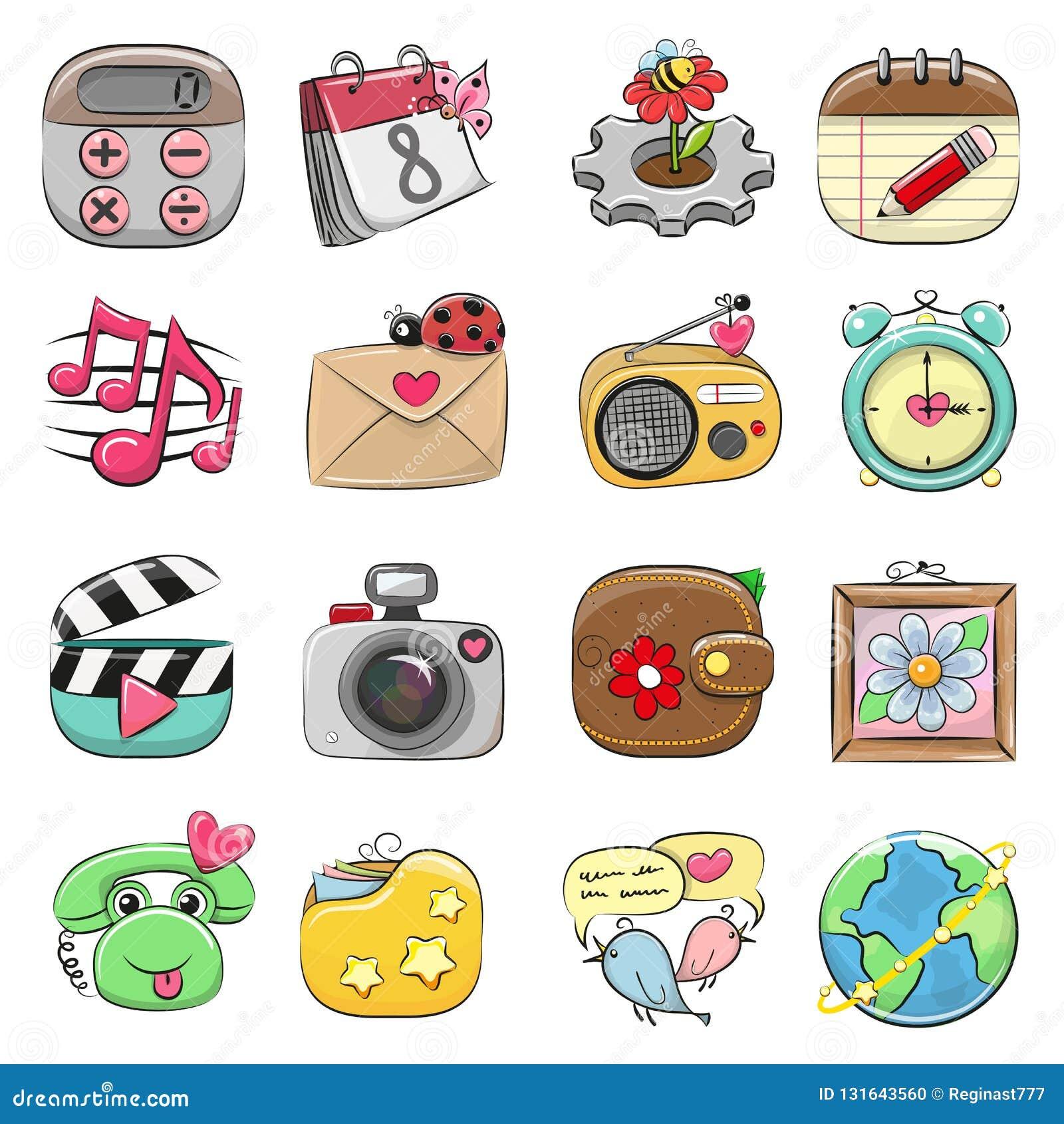 Grupo bonito do ícone para a Web e o App móvel