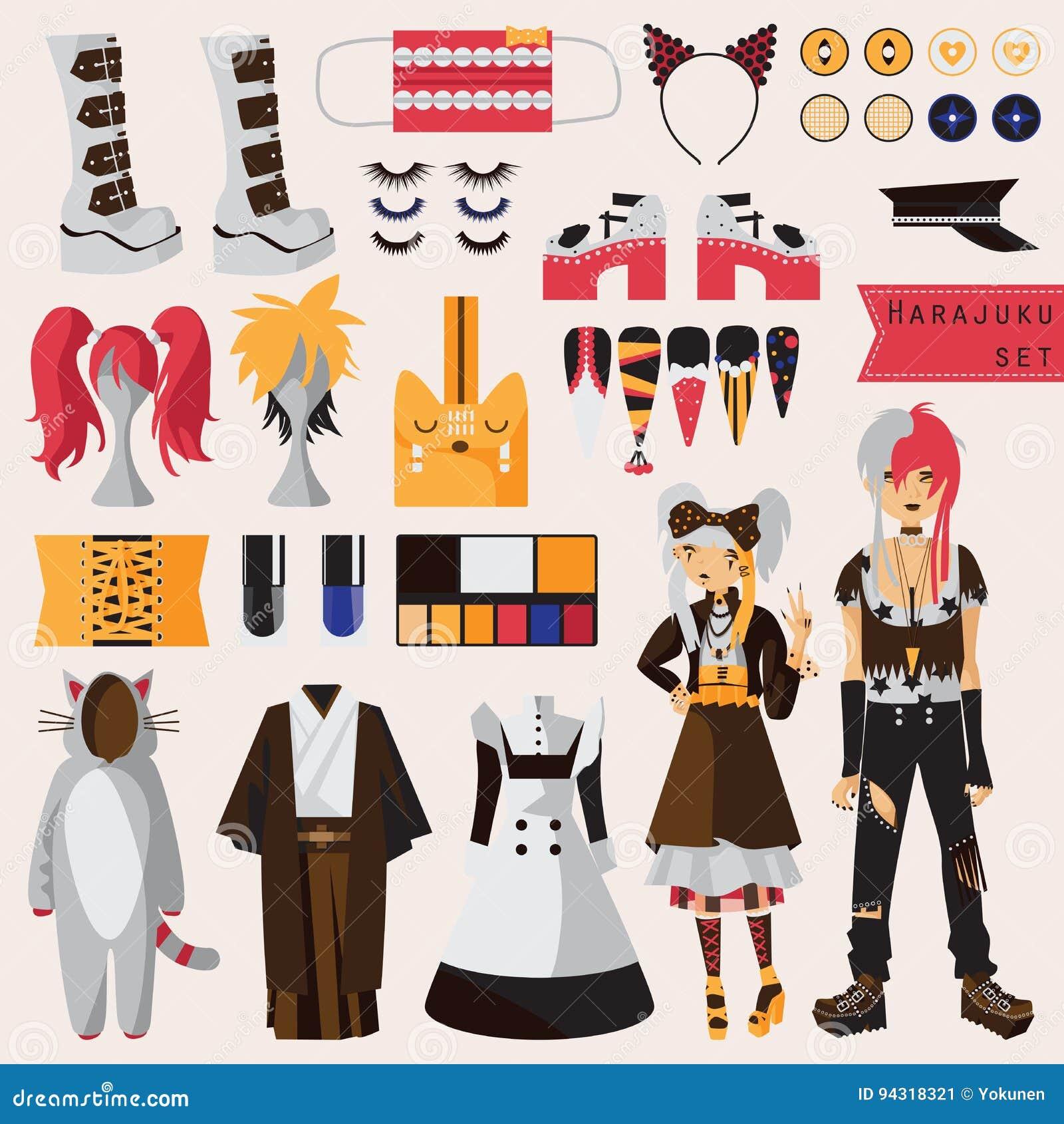 Grupo brilhante com subcultura da forma japonesa da rua do harajuku, pares no estilo visual do kei com os acessórios para cosplay