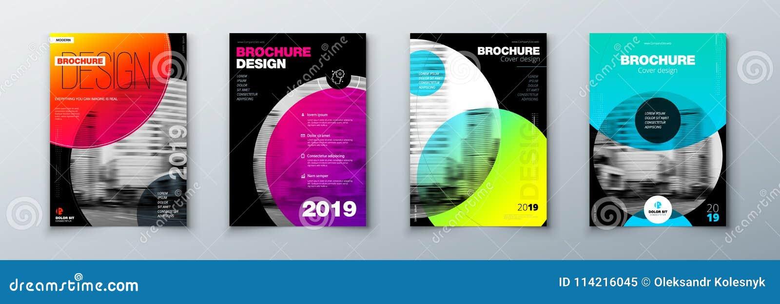 Grupo brilhante do projeto da tampa do folheto do círculo Disposição do molde para o informe anual, o compartimento, o catálogo,