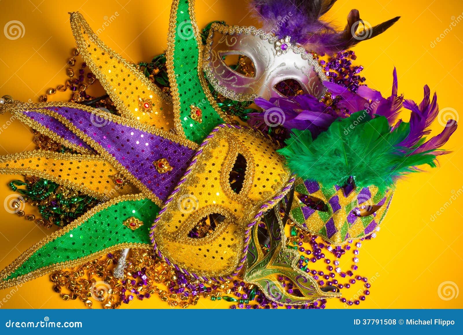 Grupo Colorido De Mardi Gras O De Máscaras Venecianas Foto de ...