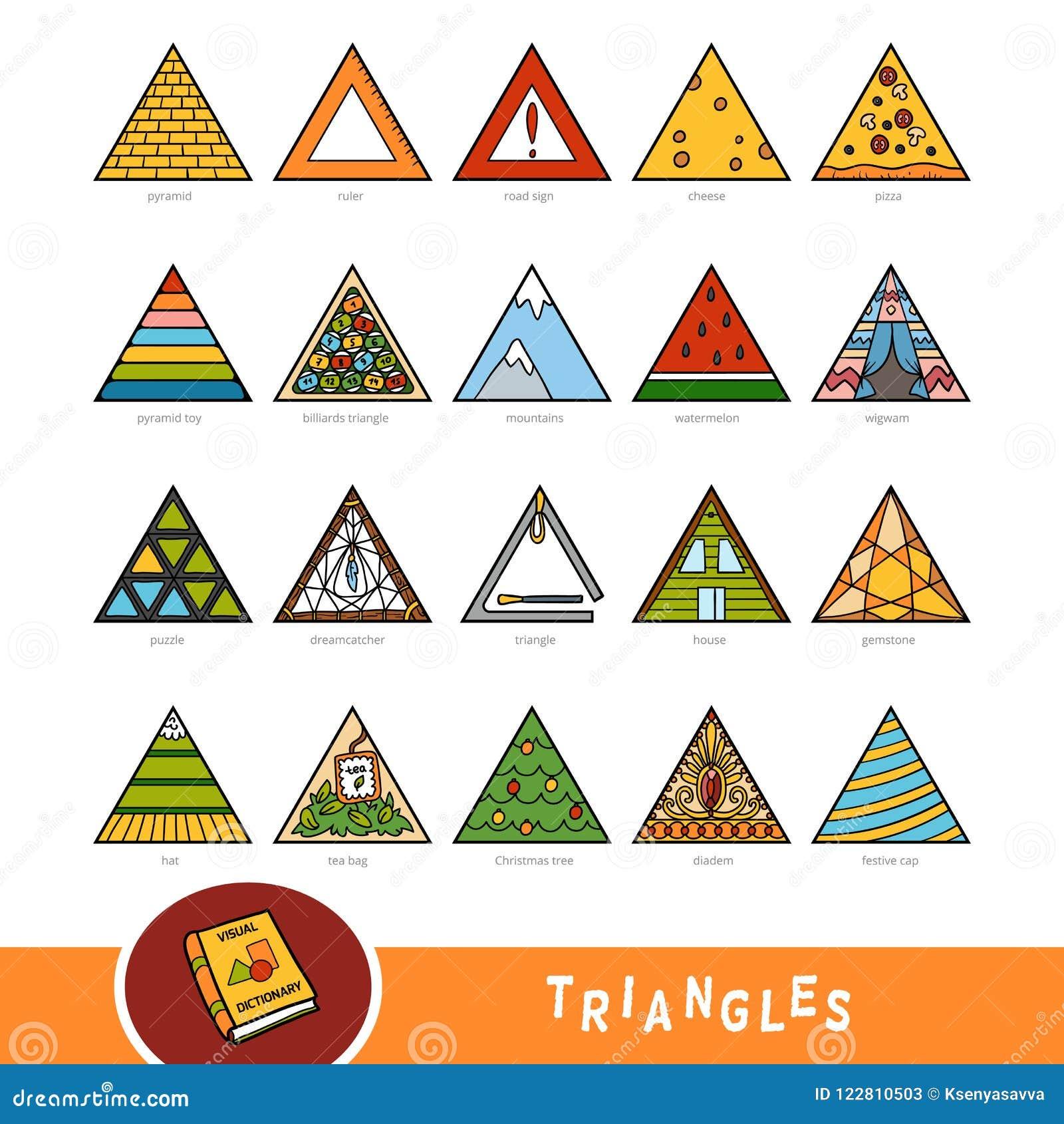 Grupo colorido de objetos da forma do triângulo Dicionário visual