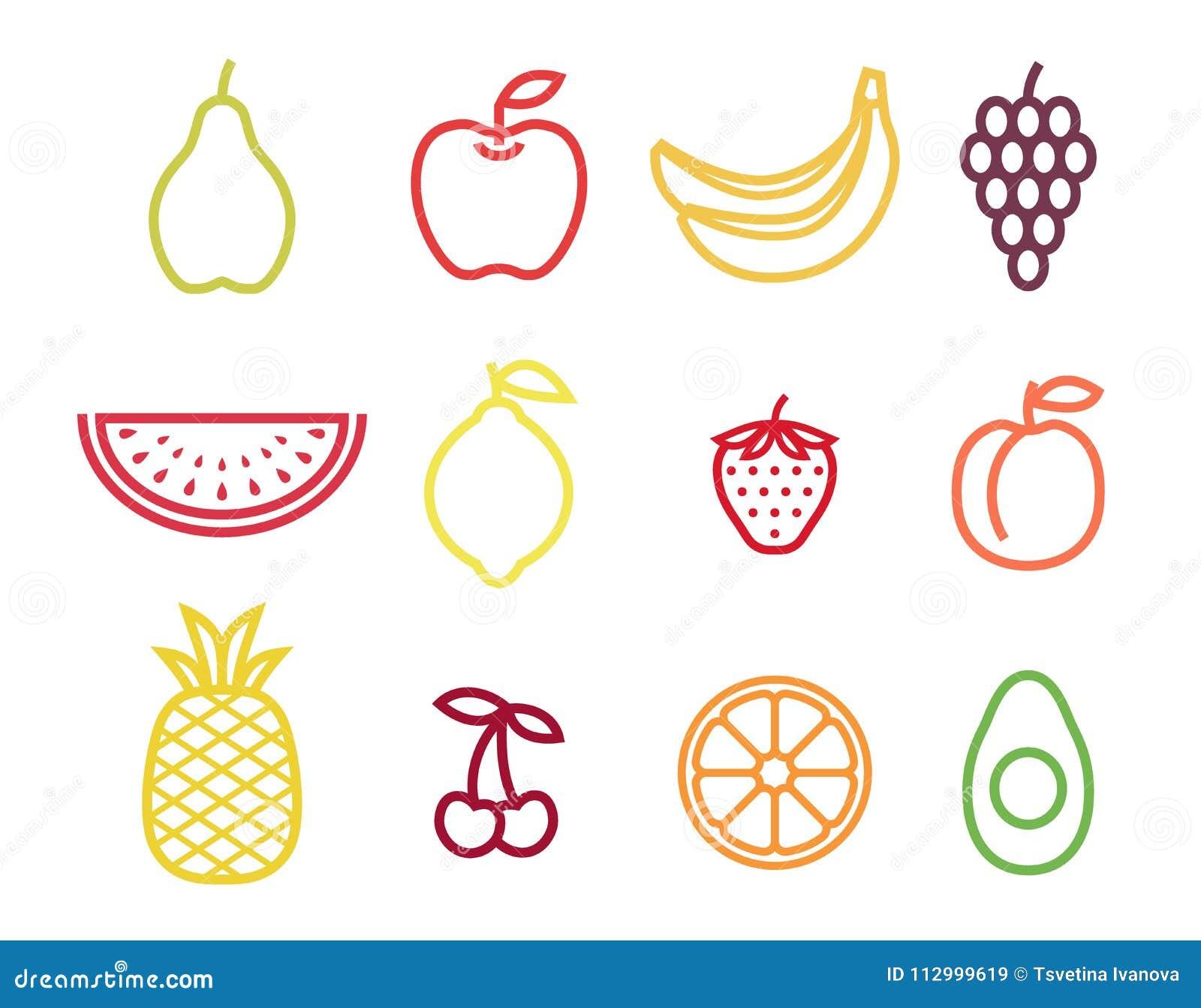 Grupo colorido do ícone do fruto do esboço Frutificam os ícones no curso da cor