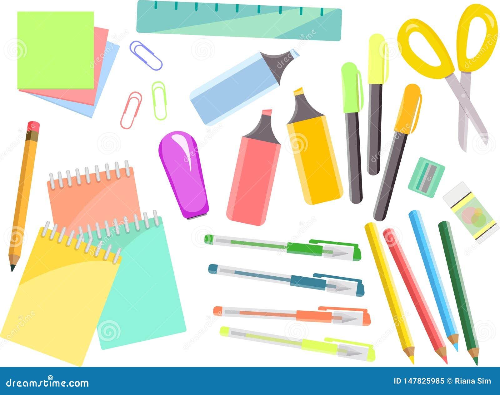 Grupo colorido dos artigos de papelaria, artigos para a escola e escritório