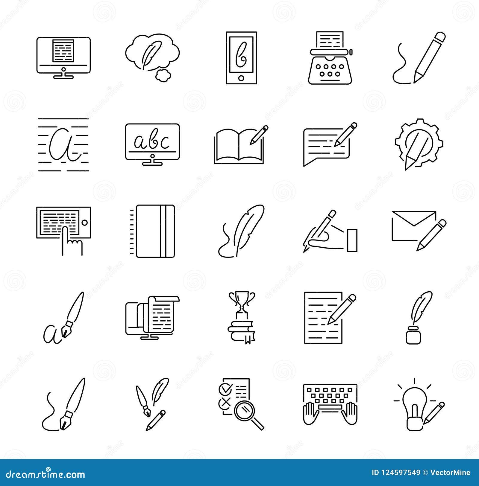 Grupo copywriting criativo da coleção do ícone da ilustração do vetor Elementos básicos esboçados que representa o mercado e a pr