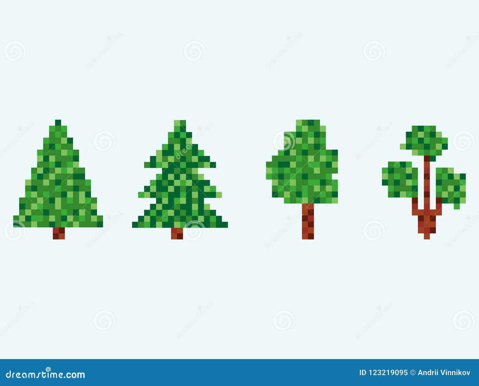 Grupo da árvore de abeto de 8 bocados Árvore de Natal do pixel isolada no fundo branco Vetor
