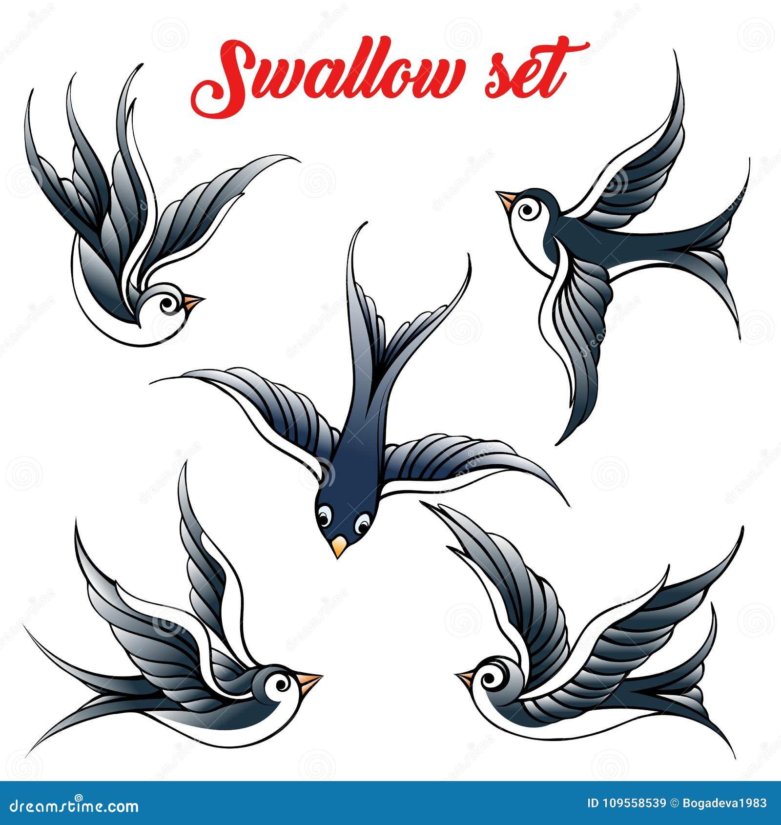 Grupo Da Andorinha Dos Desenhos Animados Ilustracao Stock