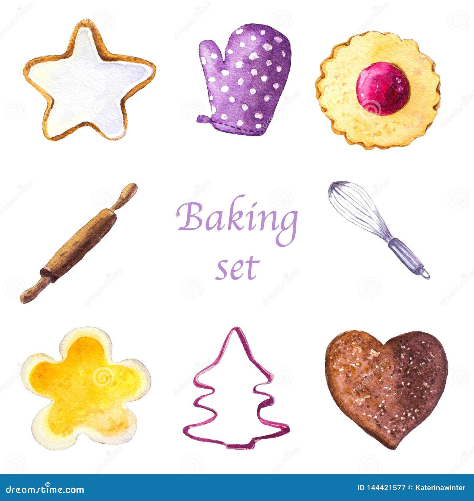 Grupo da aquarela de cookies e de ferramentas de cozimento