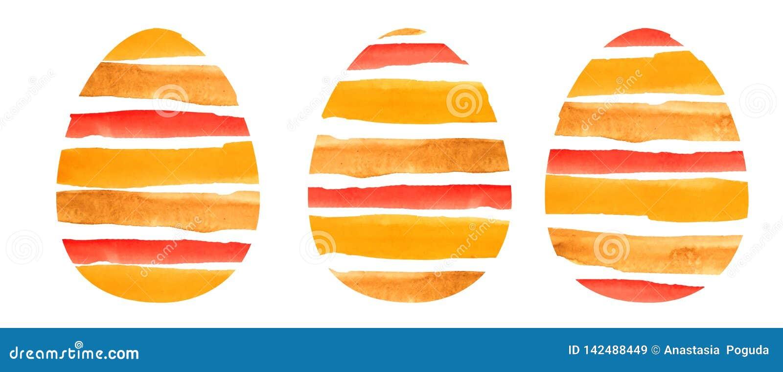 Grupo da aquarela de três ovos textured alaranjados