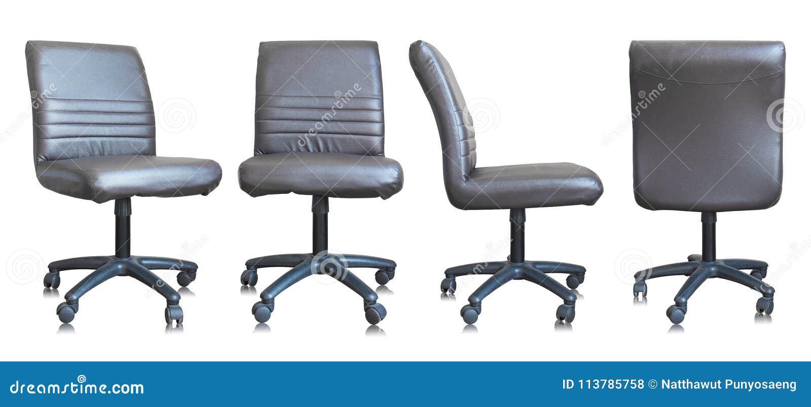 Grupo da cadeira de couro do escritório no fundo branco