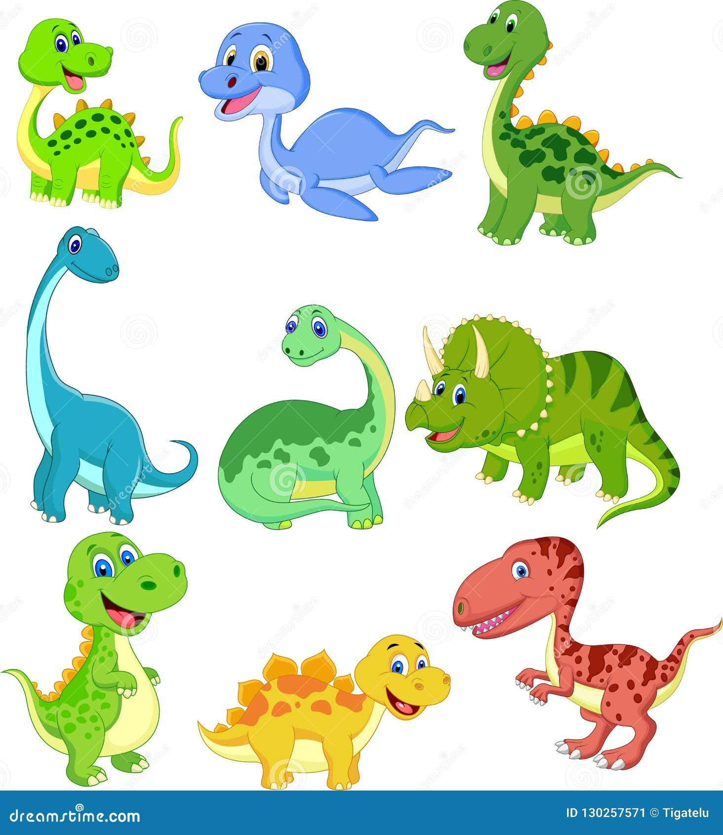 Grupo Da Colecao Dos Dinossauros Dos Desenhos Animados Ilustracao