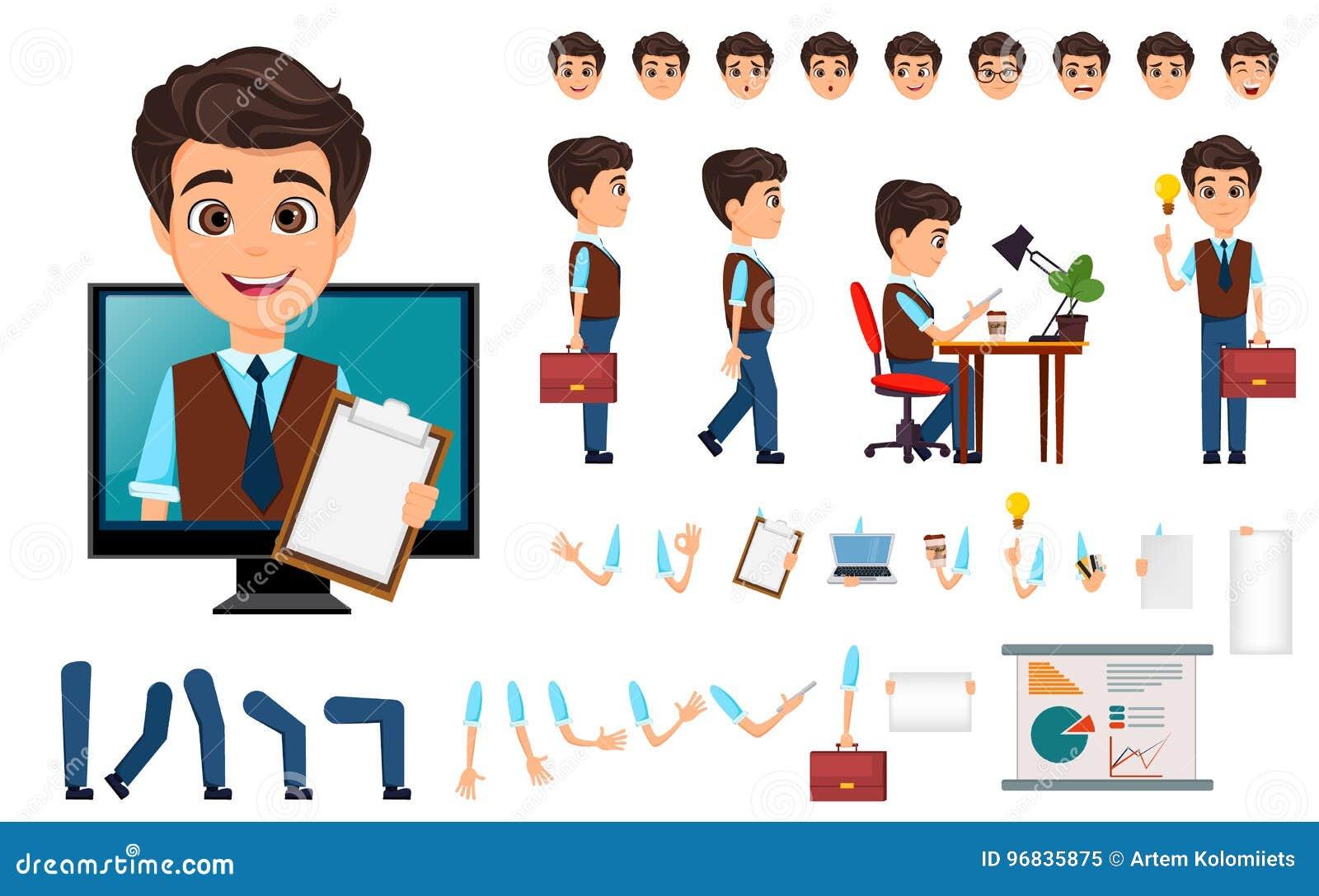 Grupo da criação do caráter Homem de negócio novo com várias emoções